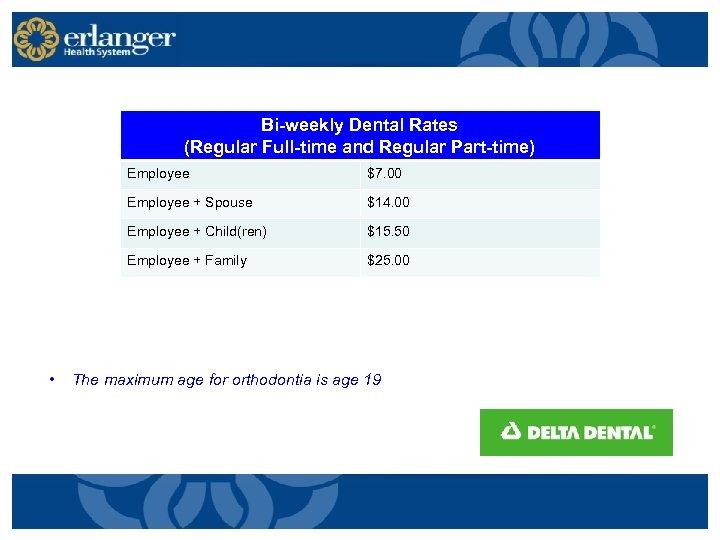 Bi-weekly Dental Rates (Regular Full-time and Regular Part-time) Employee + Spouse $14. 00 Employee