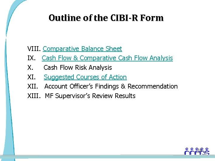Outline of the CIBI-R Form VIII. Comparative Balance Sheet IX. Cash Flow & Comparative