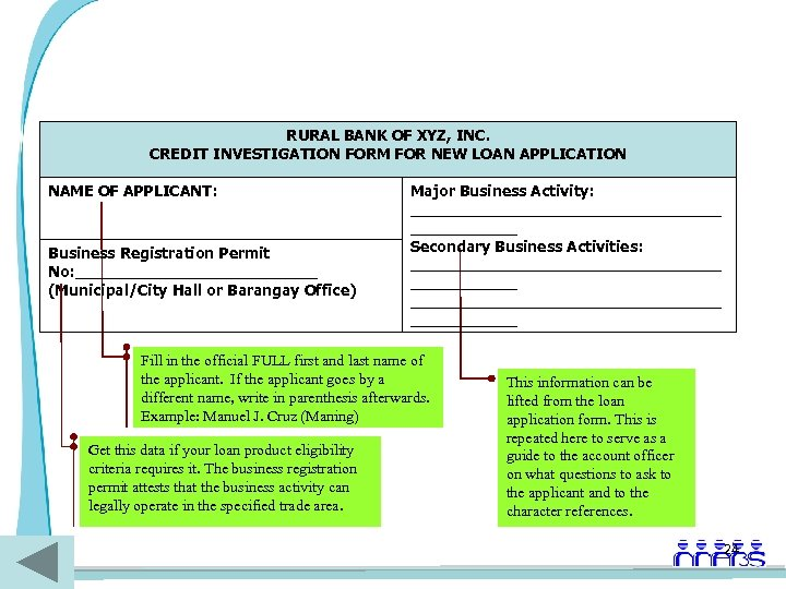 RURAL BANK OF XYZ, INC. CREDIT INVESTIGATION FORM FOR NEW LOAN APPLICATION NAME OF