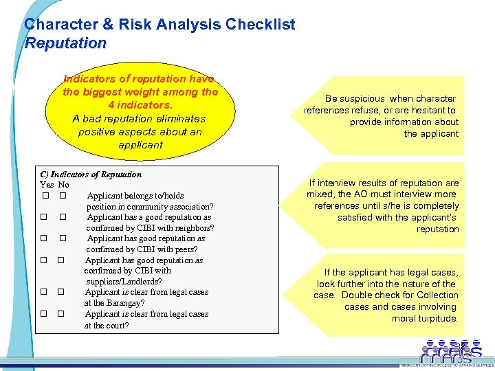 Character & Risk Analysis Checklist Reputation Indicators of reputation have the biggest weight among