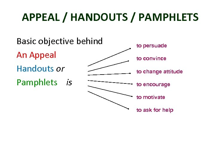 APPEAL / HANDOUTS / PAMPHLETS Basic objective behind An Appeal Handouts or Pamphlets is
