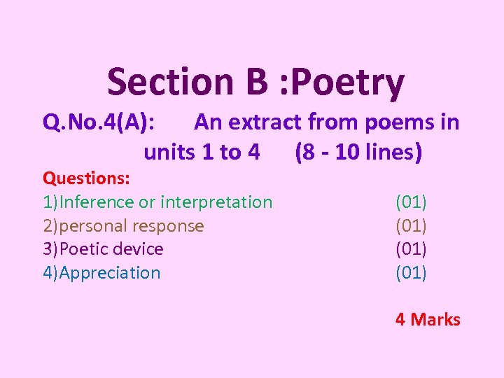 Section B : Poetry Q. No. 4(A): An extract from poems in units 1