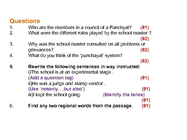 Questions 1. 2. 3. 4. 5. 6. Who are the members in a council
