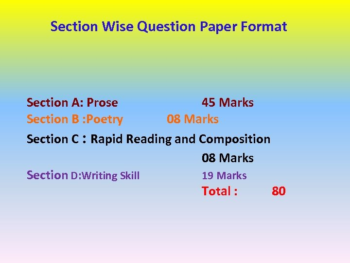 Section Wise Question Paper Format Section A: Prose 45 Marks Section B : Poetry