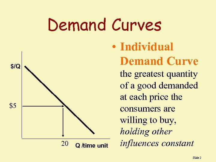 Demand Curves • Individual Demand Curve $/Q $5 20 Q /time unit the greatest