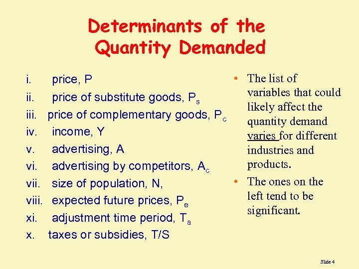 Determinants of the Quantity Demanded i. iii. iv. v. viii. x. • The list