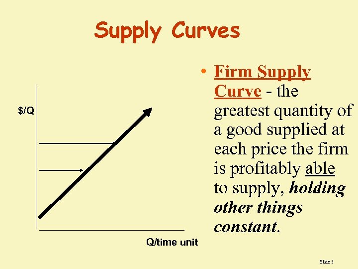 Supply Curves • Firm Supply Curve - the greatest quantity of a good supplied
