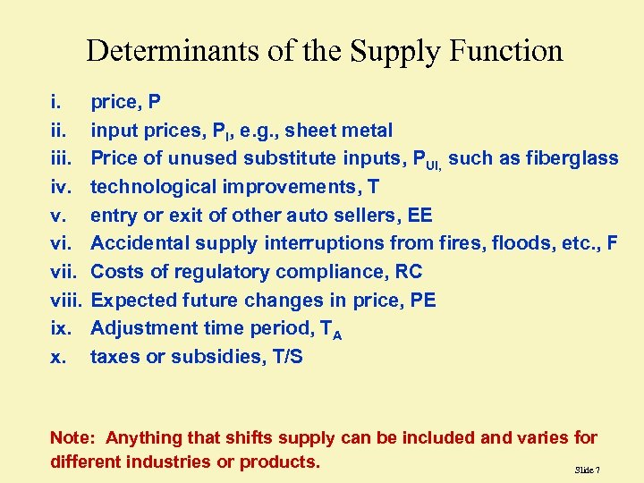 Determinants of the Supply Function i. iii. iv. v. viii. ix. x. price, P