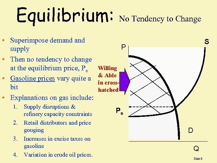 Equilibrium: No Tendency to Change • Superimpose demand supply • Then no tendency to