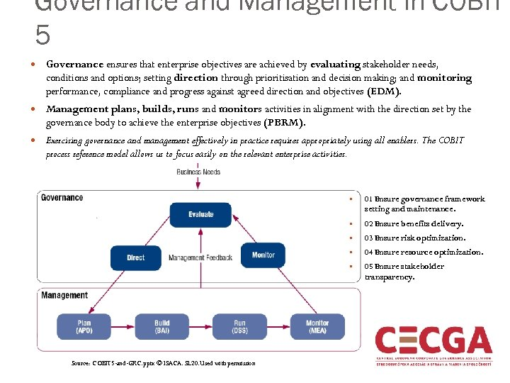 Governance and Management in COBIT 5 Governance ensures that enterprise objectives are achieved by