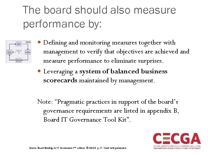 The board should also measure performance by: Defining and monitoring measures together with management