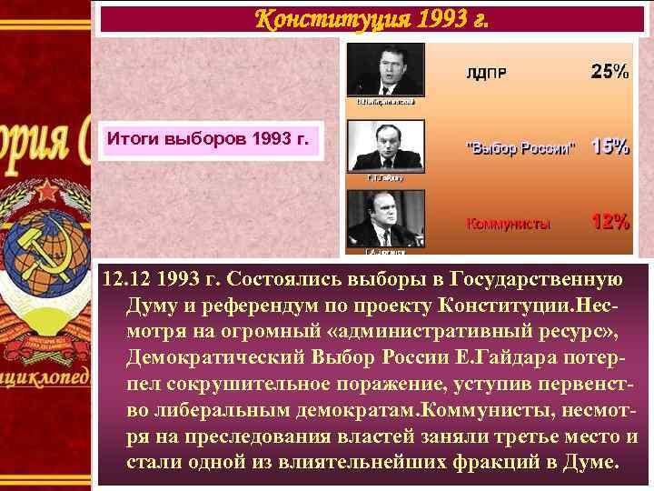 Конституция 1993 г. Итоги выборов 1993 г. 12. 12 1993 г. Состоялись выборы в