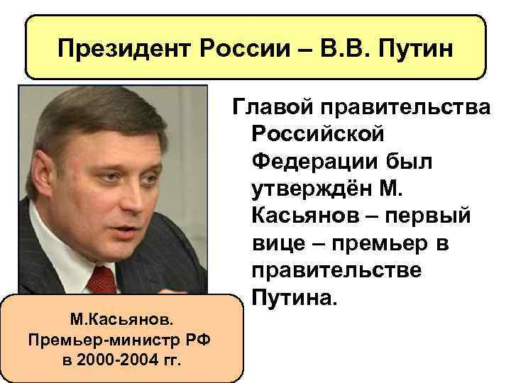 Президент России – В. В. Путин М. Касьянов. Премьер-министр РФ в 2000 -2004 гг.