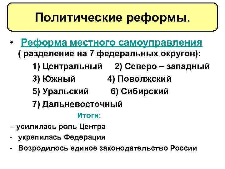 Политические реформы. • Реформа местного самоуправления ( разделение на 7 федеральных округов): 1) Центральный