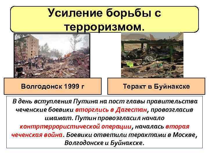 Усиление борьбы с терроризмом. Волгодонск 1999 г Теракт в Буйнакске В день вступления Путина