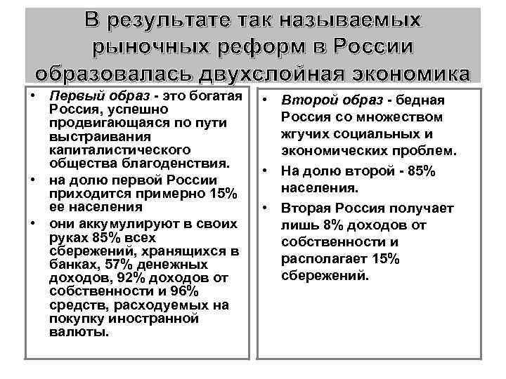 В результате так называемых рыночных реформ в России образовалась двухслойная экономика • Первый образ