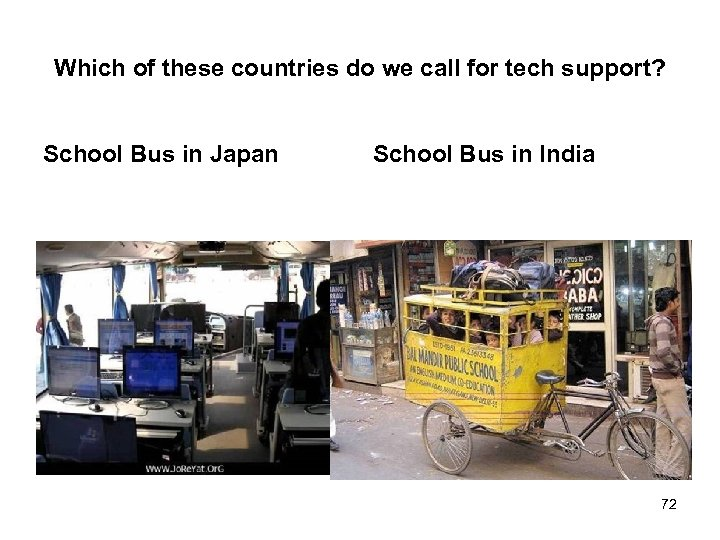 Which of these countries do we call for tech support? School Bus in Japan