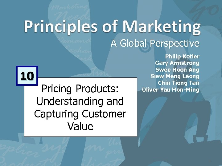 A Global Perspective 10 Pricing Products: Understanding and Capturing Customer Value Philip Kotler Gary