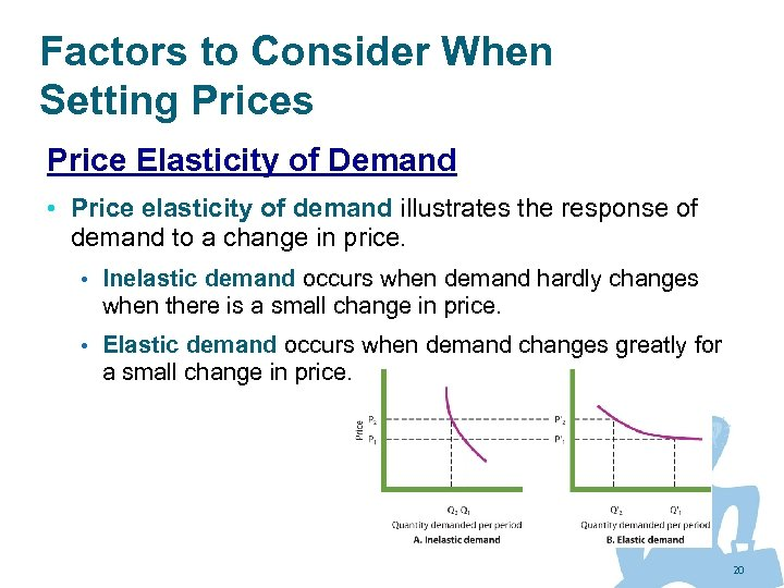 Factors to Consider When Setting Prices Price Elasticity of Demand • Price elasticity of