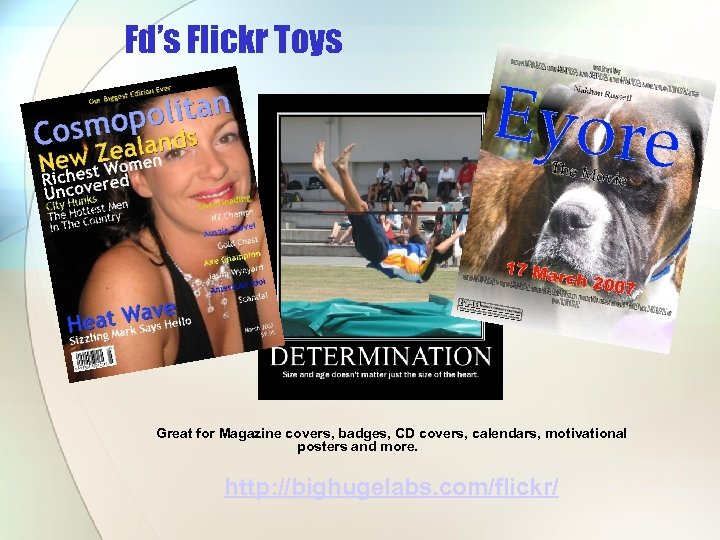 Fd's Flickr Toys Great for Magazine covers, badges, CD covers, calendars, motivational posters and