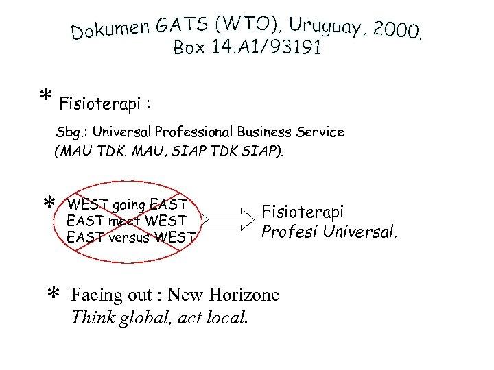 * Fisioterapi : Sbg. : Universal Professional Business Service (MAU TDK. MAU, SIAP TDK