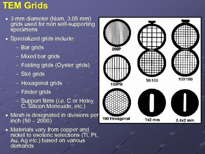 TEM Grids · 3 mm diameter (Nom. 3. 05 mm) grids used for non