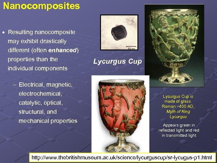 Nanocomposites · Resulting nanocomposite may exhibit drastically different (often enhanced) properties than the individual
