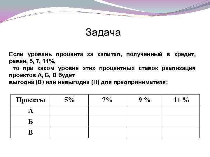 Задача Если уровень процента за капитал, полученный в кредит, равен, 5, 7, 11%, то