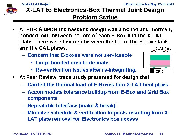GLAST LAT Project CDR/CD-3 Review May 12 -16, 2003 X-LAT to Electronics-Box Thermal Joint
