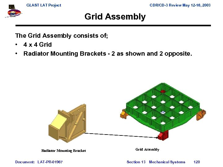 GLAST LAT Project CDR/CD-3 Review May 12 -16, 2003 Grid Assembly The Grid Assembly