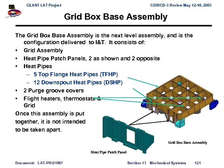GLAST LAT Project CDR/CD-3 Review May 12 -16, 2003 Grid Box Base Assembly The