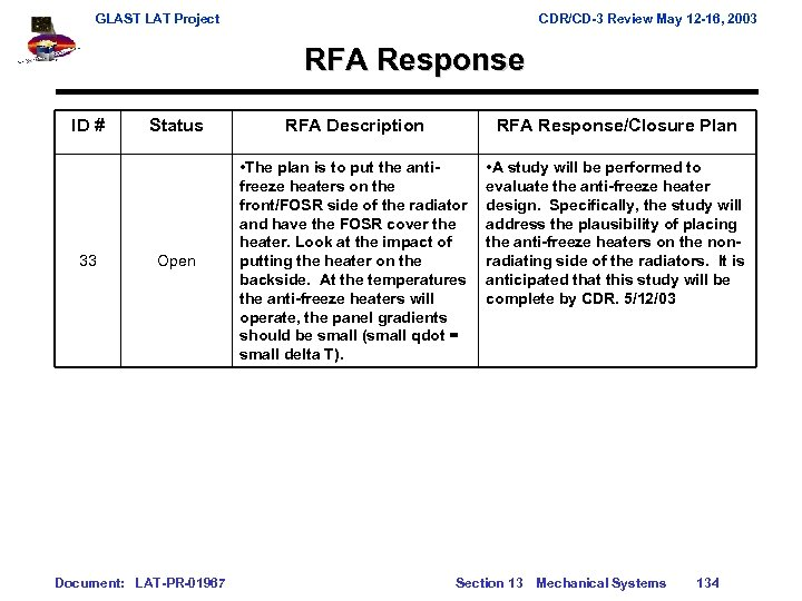 GLAST LAT Project CDR/CD-3 Review May 12 -16, 2003 RFA Response ID # 33