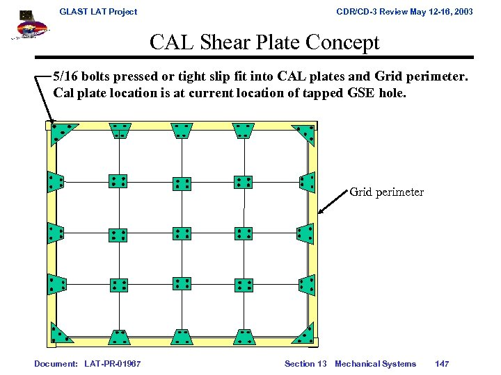 GLAST LAT Project CDR/CD-3 Review May 12 -16, 2003 CAL Shear Plate Concept 5/16