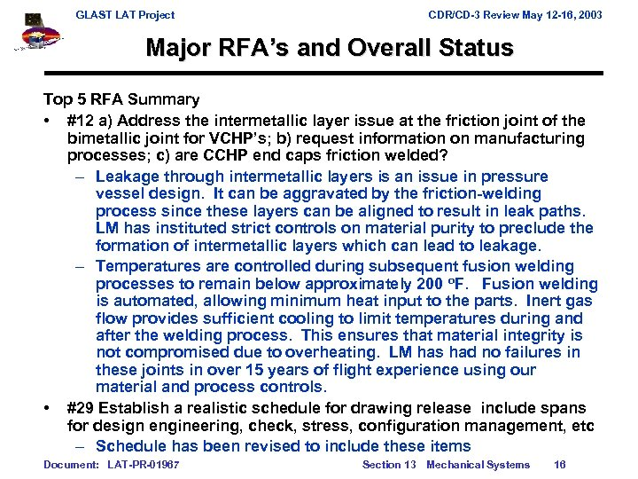 GLAST LAT Project CDR/CD-3 Review May 12 -16, 2003 Major RFA's and Overall Status