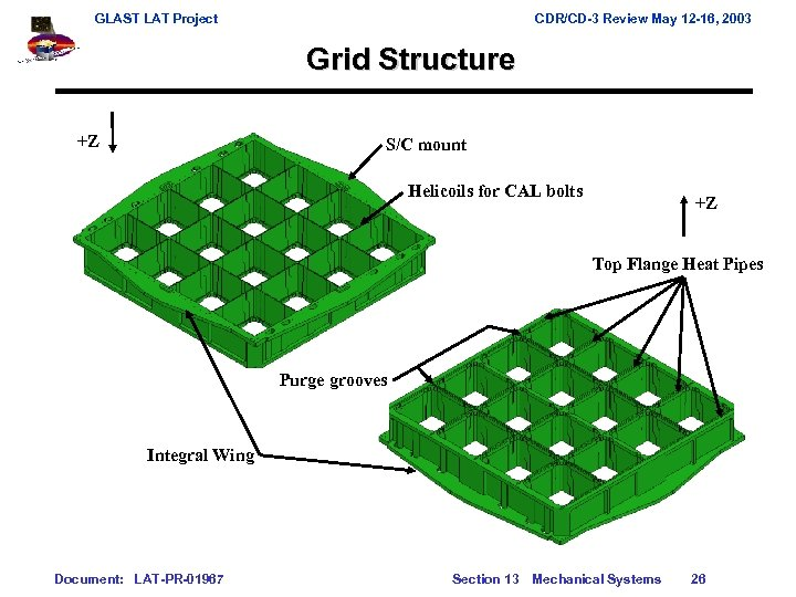 GLAST LAT Project CDR/CD-3 Review May 12 -16, 2003 Grid Structure +Z S/C mount