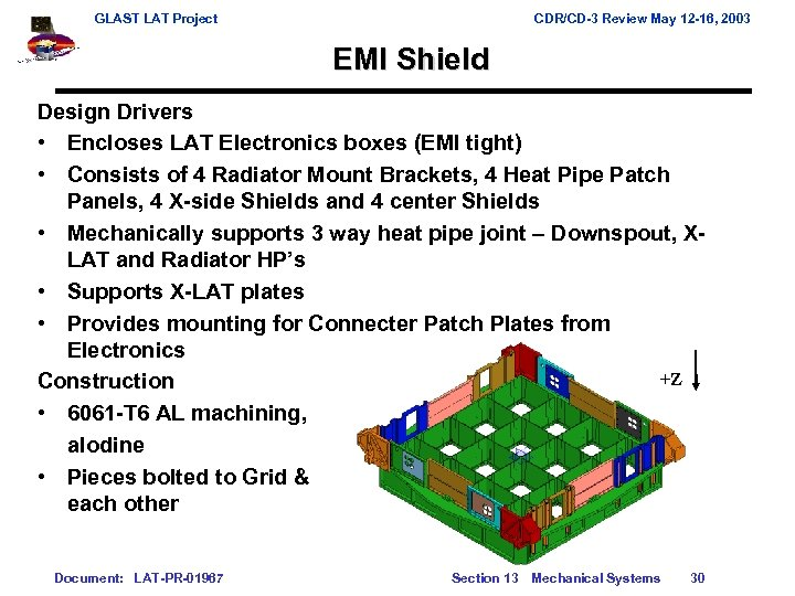 GLAST LAT Project CDR/CD-3 Review May 12 -16, 2003 EMI Shield Design Drivers •