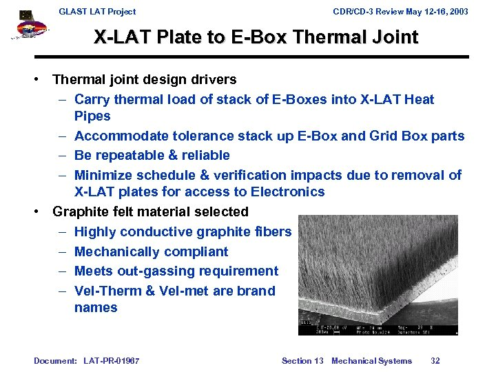GLAST LAT Project CDR/CD-3 Review May 12 -16, 2003 X-LAT Plate to E-Box Thermal