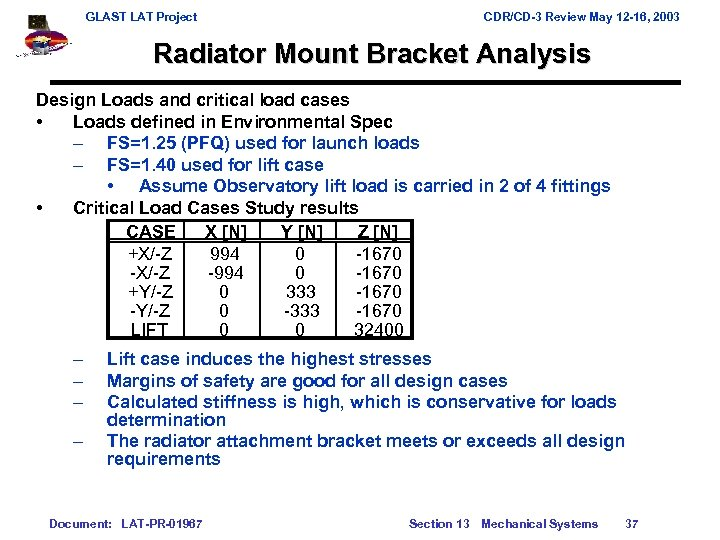 GLAST LAT Project CDR/CD-3 Review May 12 -16, 2003 Radiator Mount Bracket Analysis Design