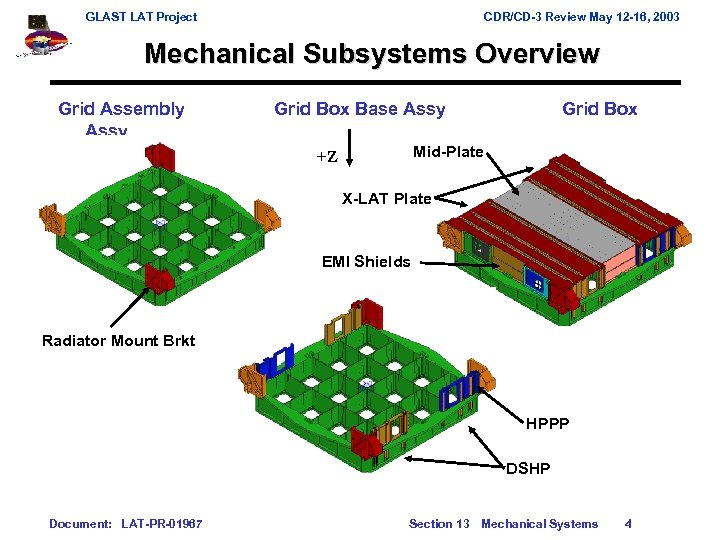 GLAST LAT Project CDR/CD-3 Review May 12 -16, 2003 Mechanical Subsystems Overview Grid Assembly