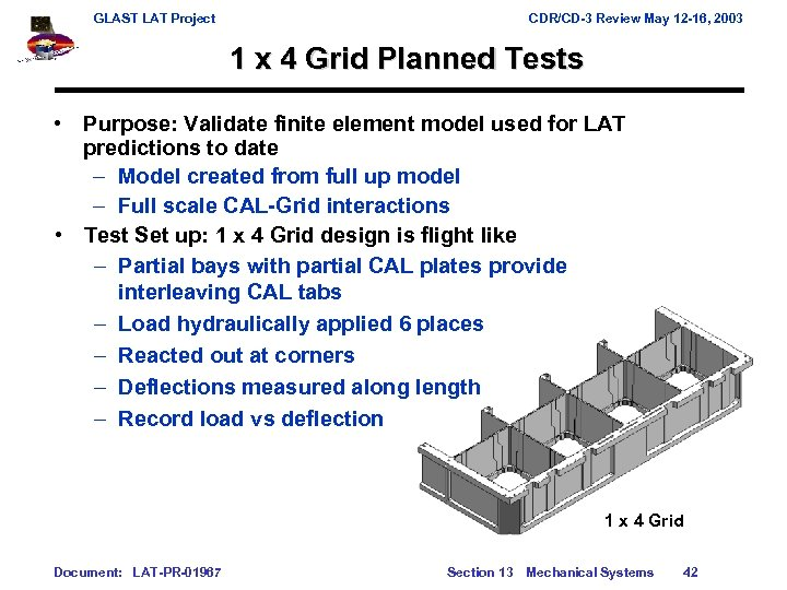 GLAST LAT Project CDR/CD-3 Review May 12 -16, 2003 1 x 4 Grid Planned