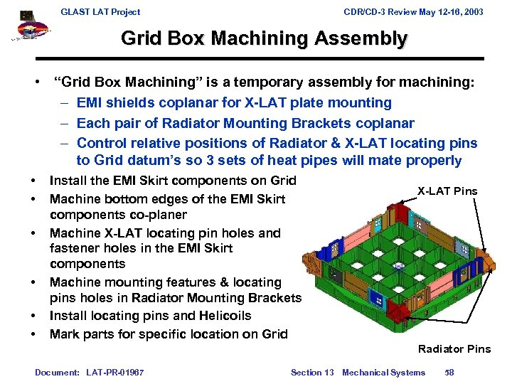 GLAST LAT Project CDR/CD-3 Review May 12 -16, 2003 Grid Box Machining Assembly •