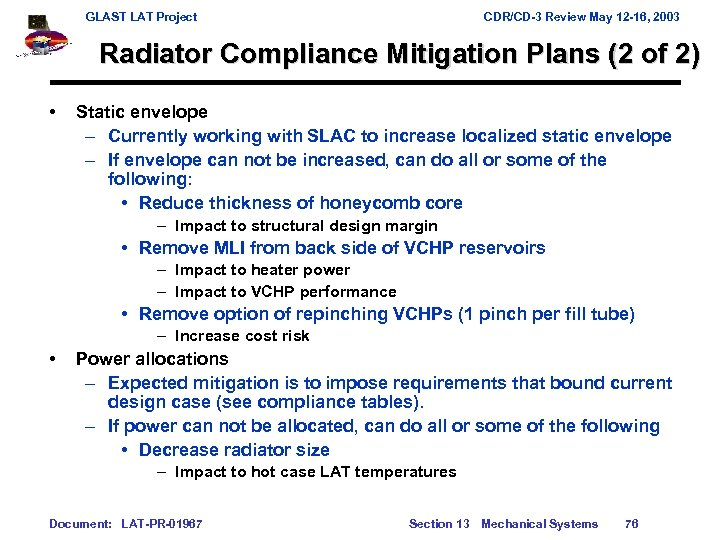 GLAST LAT Project CDR/CD-3 Review May 12 -16, 2003 Radiator Compliance Mitigation Plans (2