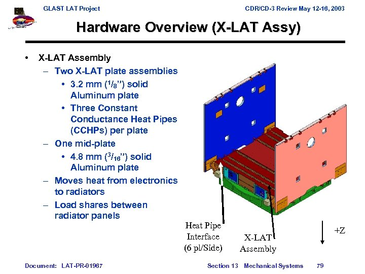 GLAST LAT Project CDR/CD-3 Review May 12 -16, 2003 Hardware Overview (X-LAT Assy) •