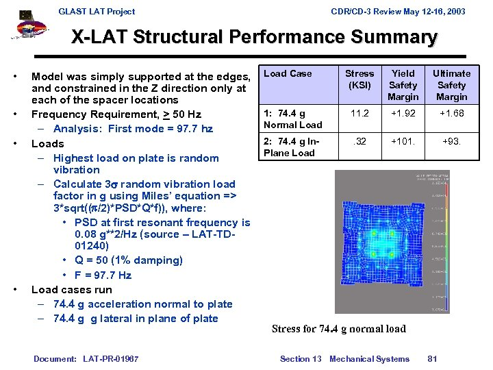 GLAST LAT Project CDR/CD-3 Review May 12 -16, 2003 X-LAT Structural Performance Summary •