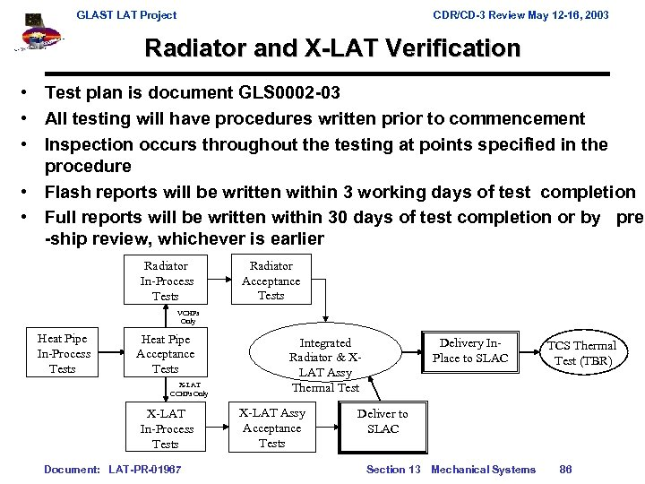 GLAST LAT Project CDR/CD-3 Review May 12 -16, 2003 Radiator and X-LAT Verification •
