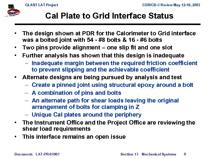 GLAST LAT Project CDR/CD-3 Review May 12 -16, 2003 Cal Plate to Grid Interface