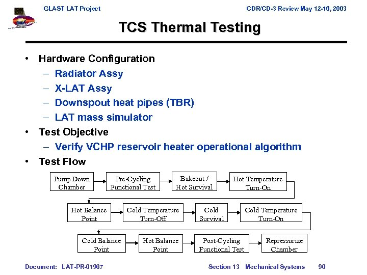GLAST LAT Project CDR/CD-3 Review May 12 -16, 2003 TCS Thermal Testing • Hardware