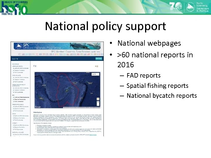 National policy support • National webpages • >60 national reports in 2016 – FAD
