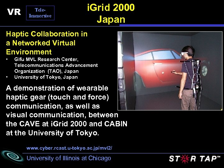 VR Tele. Immersive i. Grid 2000 Japan Haptic Collaboration in a Networked Virtual Environment