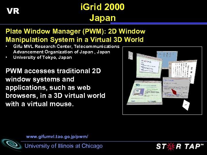 VR i. Grid 2000 Japan Plate Window Manager (PWM): 2 D Window Manipulation System